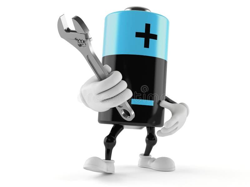 Carácter de la batería que sostiene la llave ajustable libre illustration