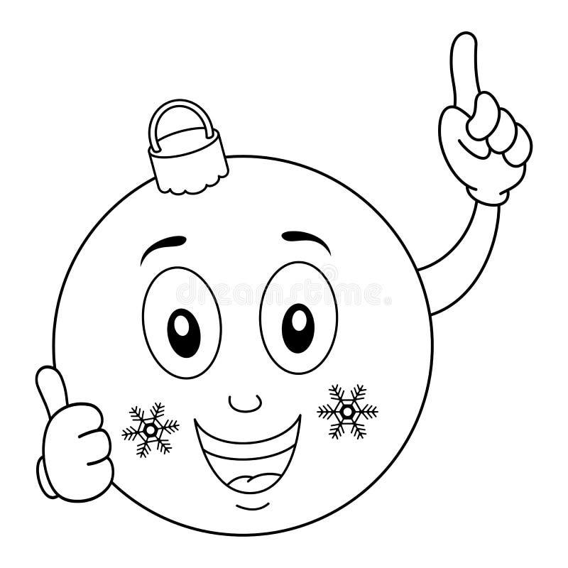Carácter de la bola de la feliz Navidad que colorea stock de ilustración