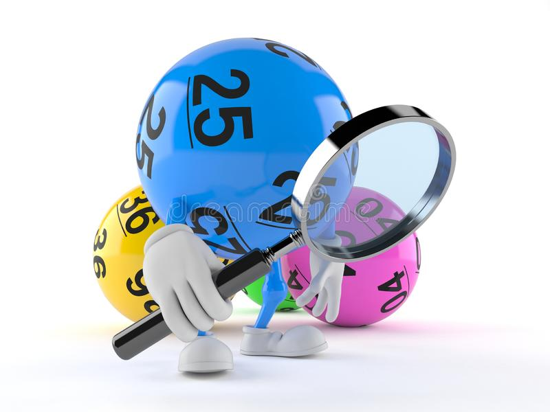 Carácter de la bola de la loteria que mira a través de la lupa ilustración del vector