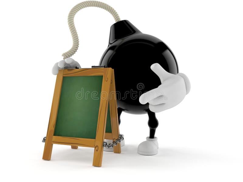 Car?cter de la bomba con el letrero de la tiza ilustración del vector