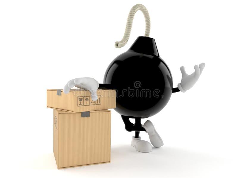 Carácter de la bomba con la pila de cajas ilustración del vector