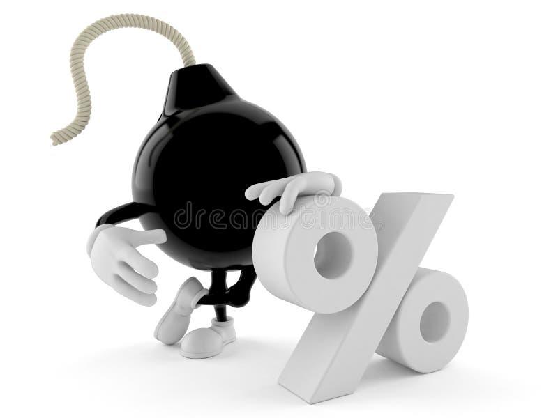 Carácter de la bomba con símbolo del por ciento stock de ilustración