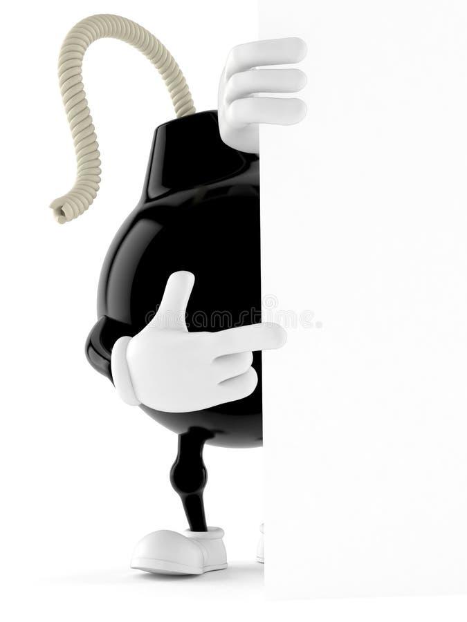 Carácter de la bomba detrás de la pared blanca stock de ilustración