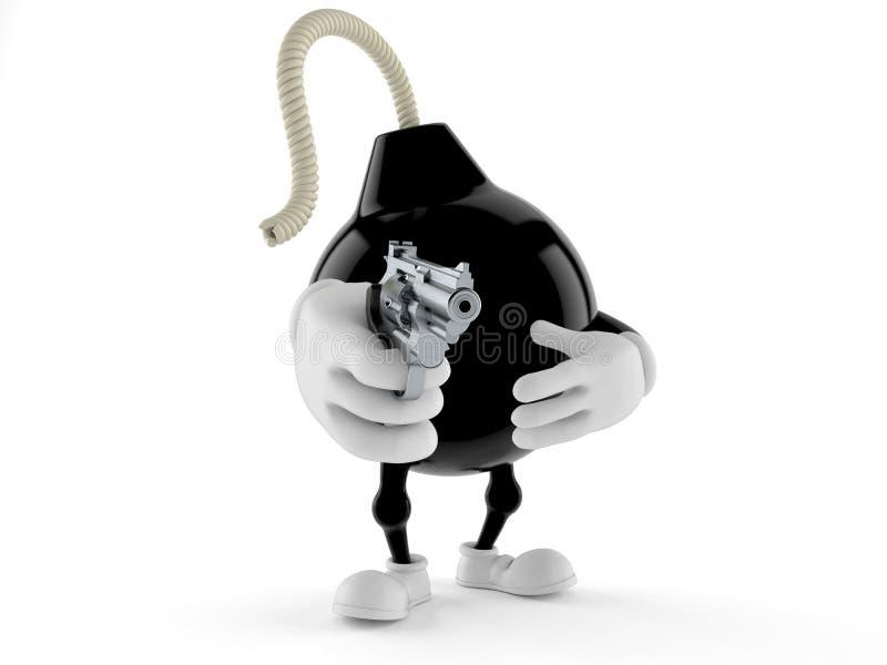 Carácter de la bomba que apunta un arma ilustración del vector