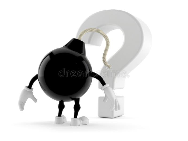 Car?cter de la bomba que mira s?mbolo del signo de interrogaci?n ilustración del vector