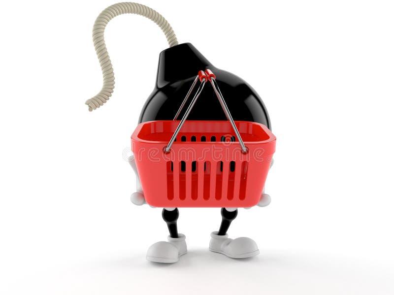 Carácter de la bomba que sostiene la cesta de compras vacía stock de ilustración