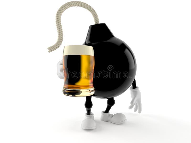 Carácter de la bomba que sostiene el vidrio de cerveza libre illustration