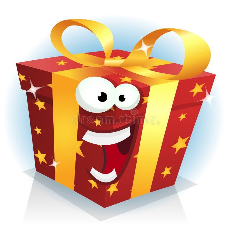 Carácter de la caja de la Navidad y de regalo de cumpleaños ilustración del vector