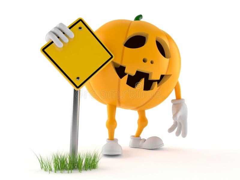 Carácter de la calabaza de Halloween con la señal de tráfico stock de ilustración