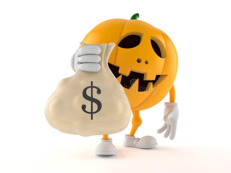 Carácter de la calabaza de Halloween que sostiene el bolso del dinero ilustración del vector