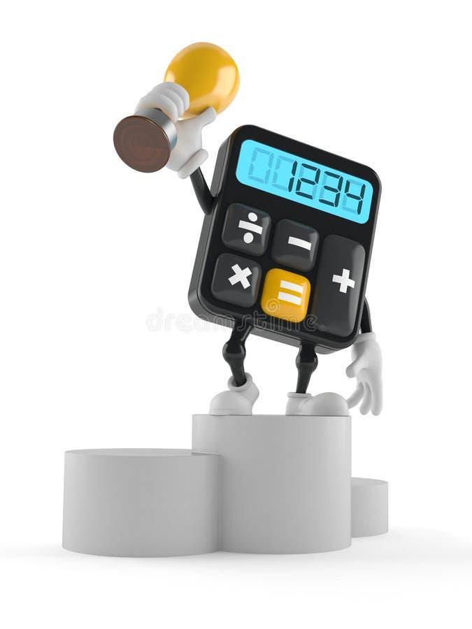Carácter de la calculadora que sostiene el trofeo de oro libre illustration