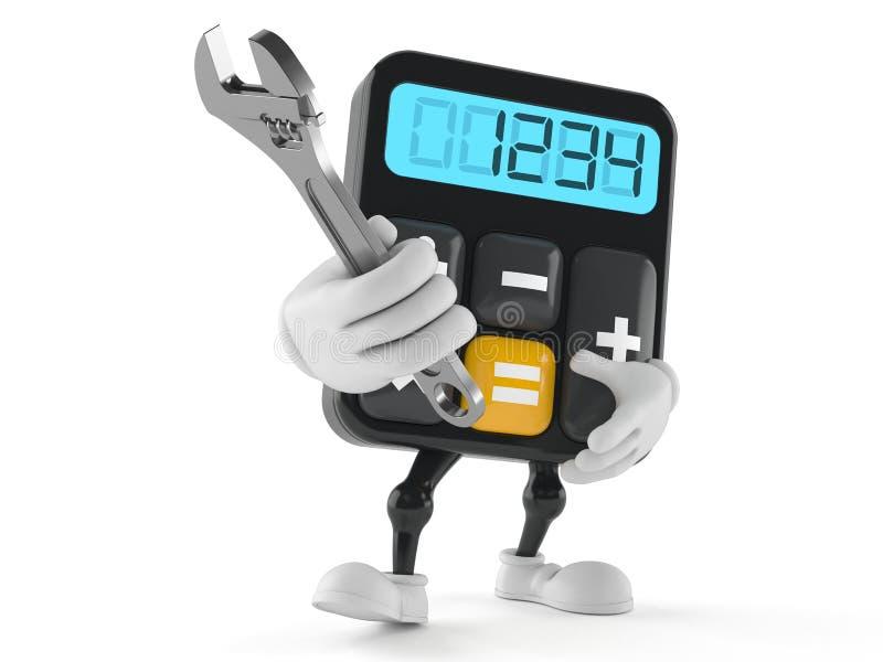 Carácter de la calculadora que sostiene la llave ajustable stock de ilustración