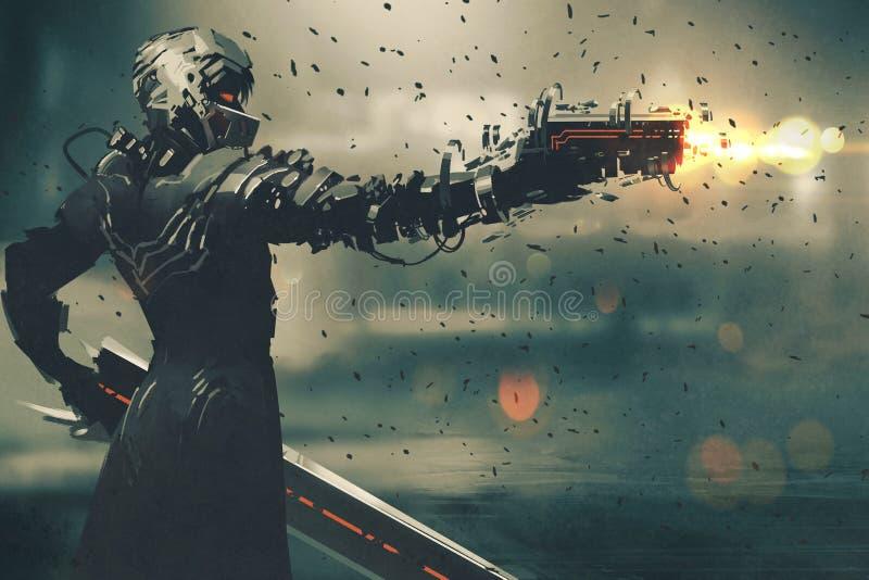 Carácter de la ciencia ficción en el traje futurista que apunta el arma ilustración del vector