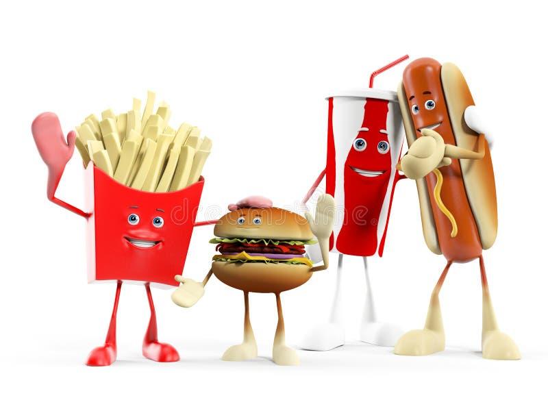 Carácter de la comida - alimentos de preparación rápida libre illustration