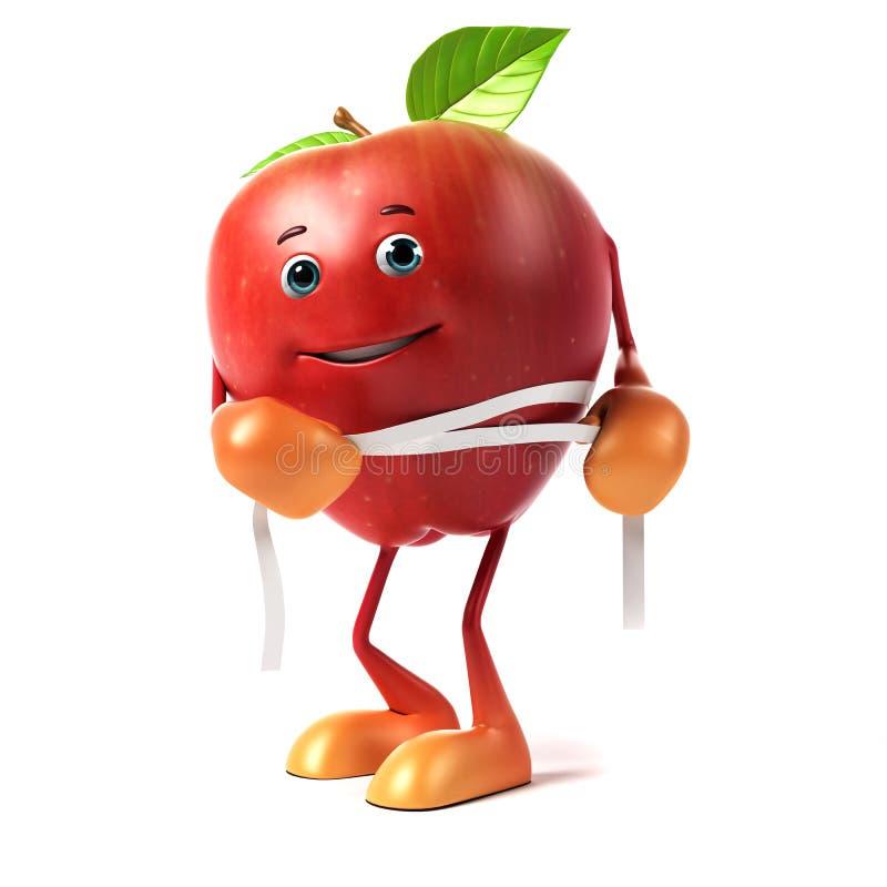 Carácter de la comida - manzana stock de ilustración