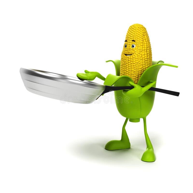 Carácter de la comida - mazorca de maíz ilustración del vector
