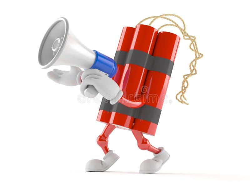 Carácter de la dinamita que habla a través de un megáfono stock de ilustración