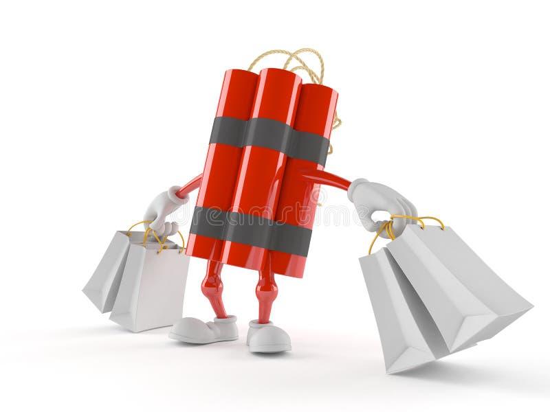 Carácter de la dinamita que sostiene bolsos de compras libre illustration
