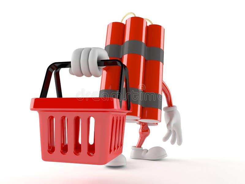 Carácter de la dinamita que sostiene la cesta de compras libre illustration