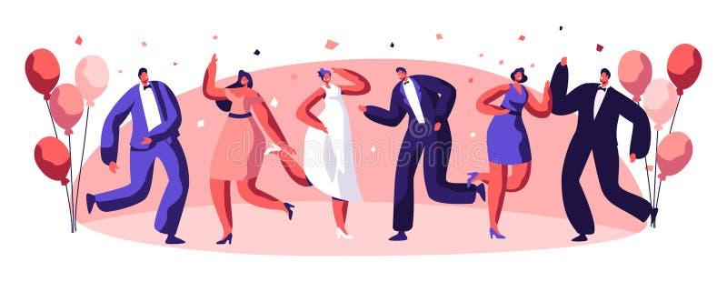 Carácter de la gente de la celebración del partido de baile stock de ilustración