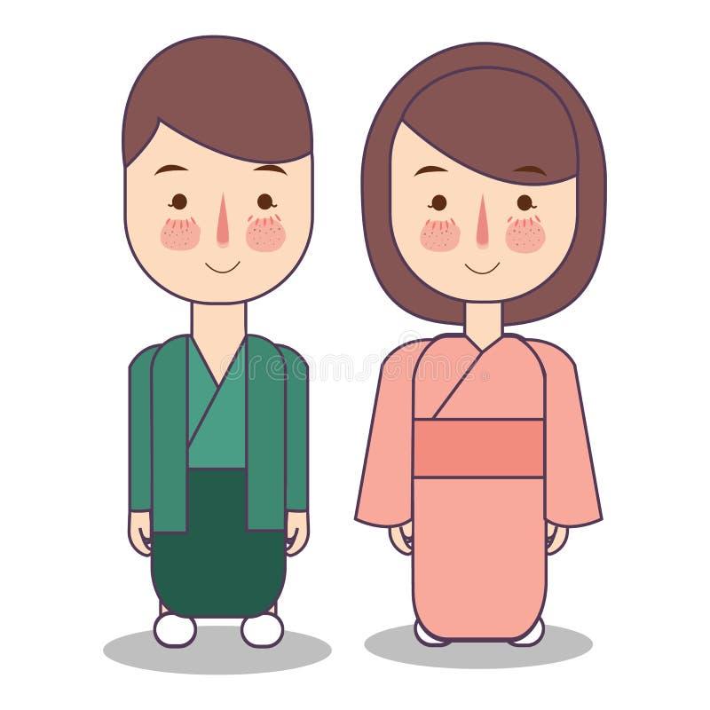Carácter de la gente de la mujer del hombre de Japón Ropa tradicional nacional del vestido del traje Ejemplo plano del vector de  stock de ilustración