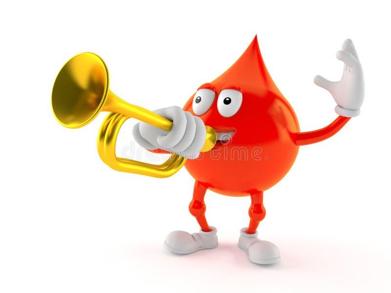 Carácter de la gota de sangre que toca la trompeta stock de ilustración