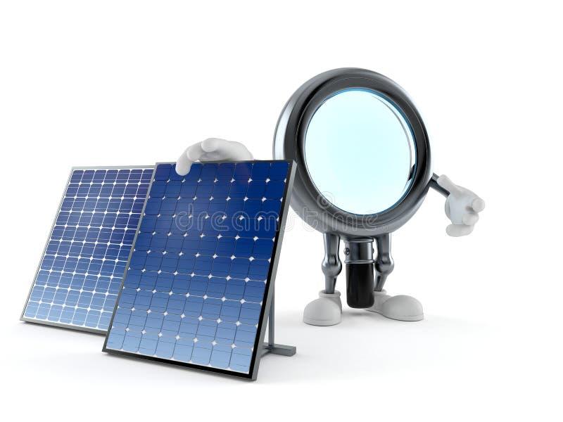 Carácter de la lupa con el panel fotovoltaico libre illustration