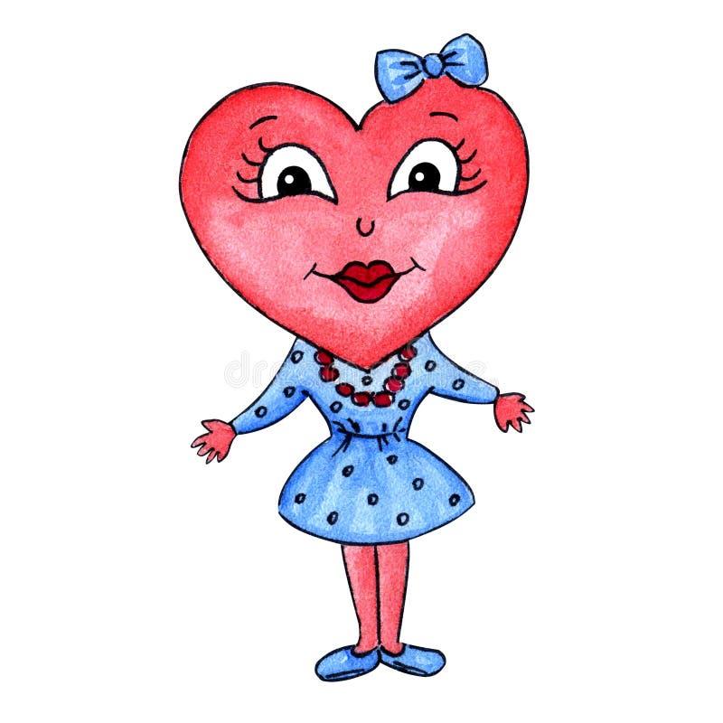 Carácter de la muchacha del corazón stock de ilustración
