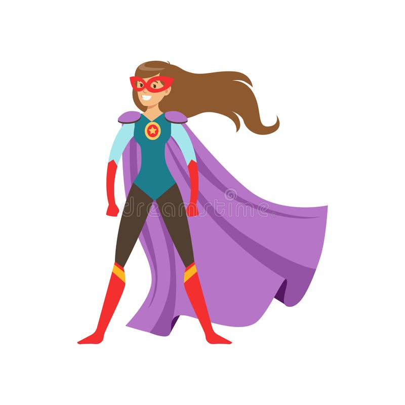 Carácter de la mujer joven vestido como superhéroe que se coloca en el ejemplo heroico tradicional del vector de la historieta de stock de ilustración