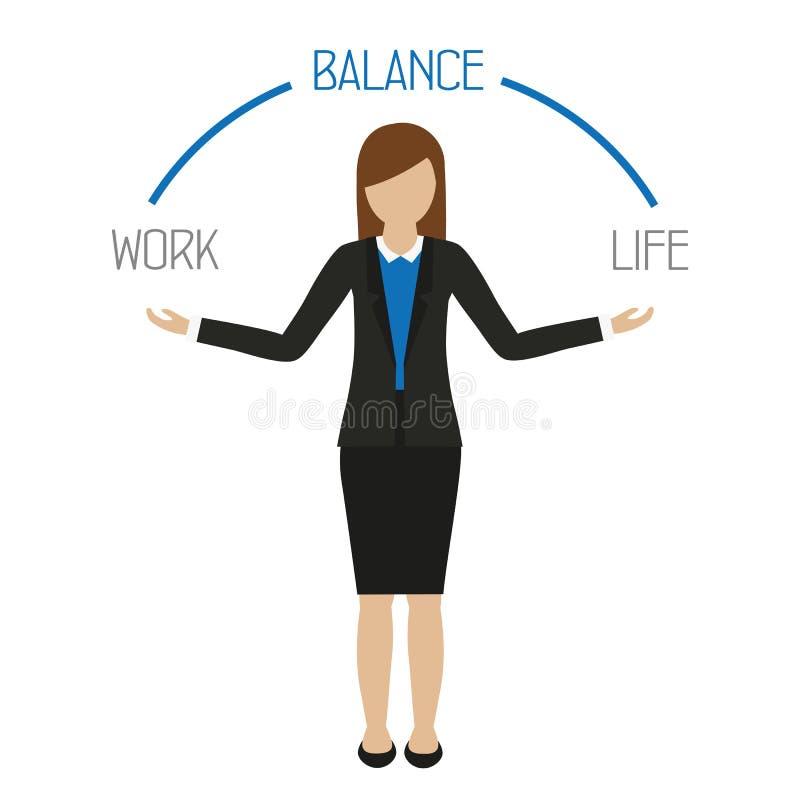 Carácter de la mujer de negocios de la balanza de la vida del trabajo ilustración del vector
