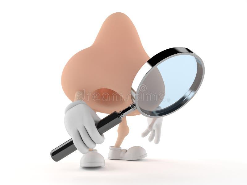 Carácter de la nariz que mira a través de la lupa libre illustration