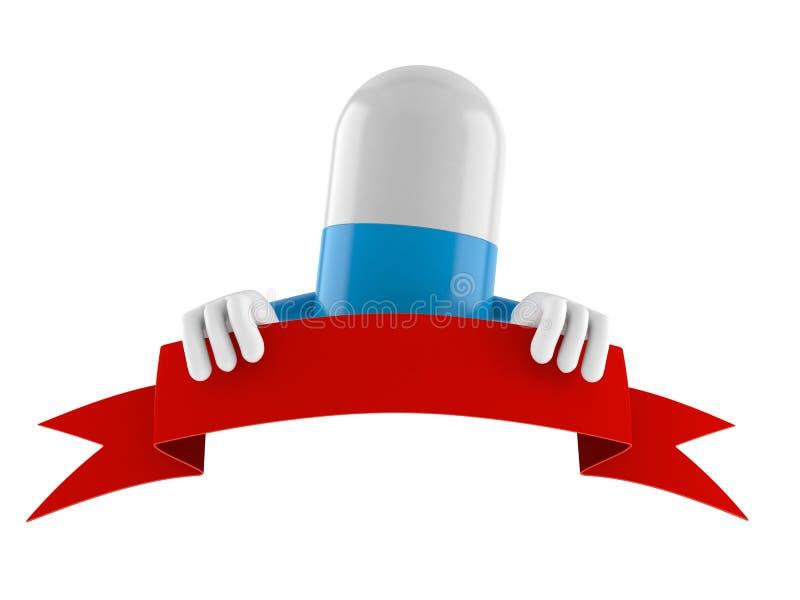 Carácter de la píldora con la bandera en blanco ilustración del vector