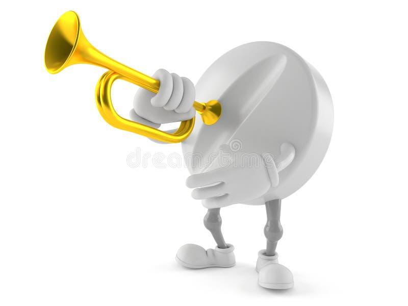 Carácter de la píldora con la trompeta stock de ilustración