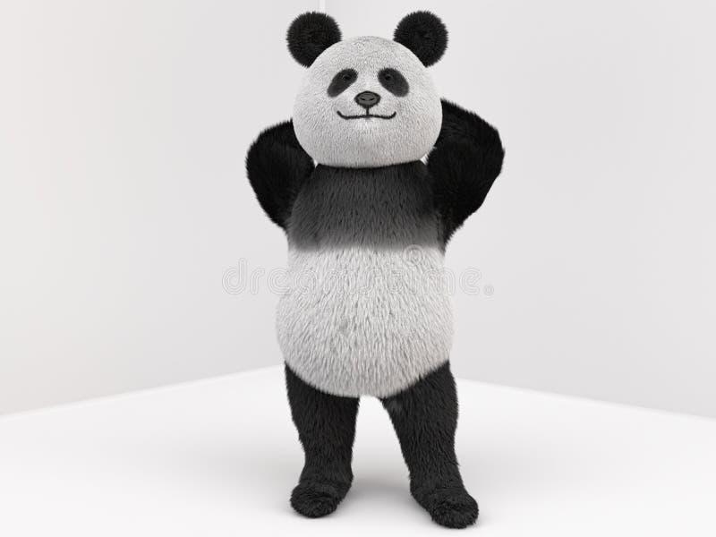 Carácter de la panda con la piel que se coloca en dos piernas stock de ilustración