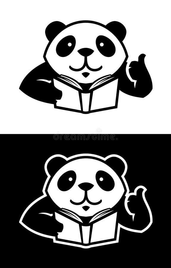 Carácter de la panda con la silueta cortada libro ilustración del vector
