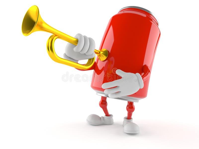 Carácter de la soda con la trompeta ilustración del vector