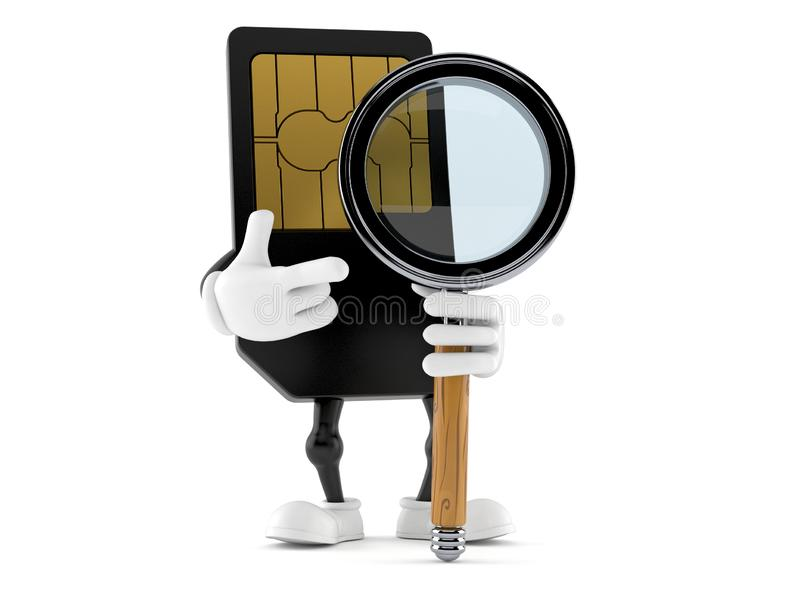 Carácter de la tarjeta de SIM con la lupa libre illustration