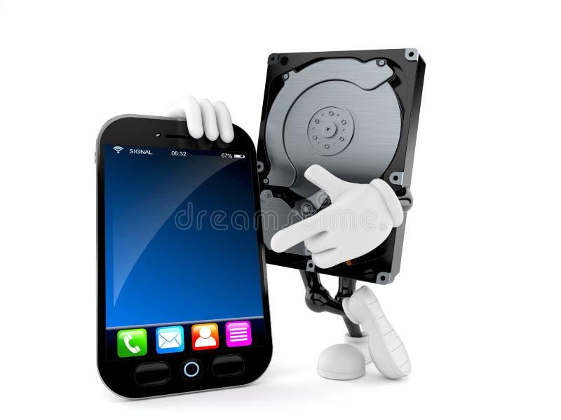 Carácter de la unidad de disco duro con smartphone stock de ilustración