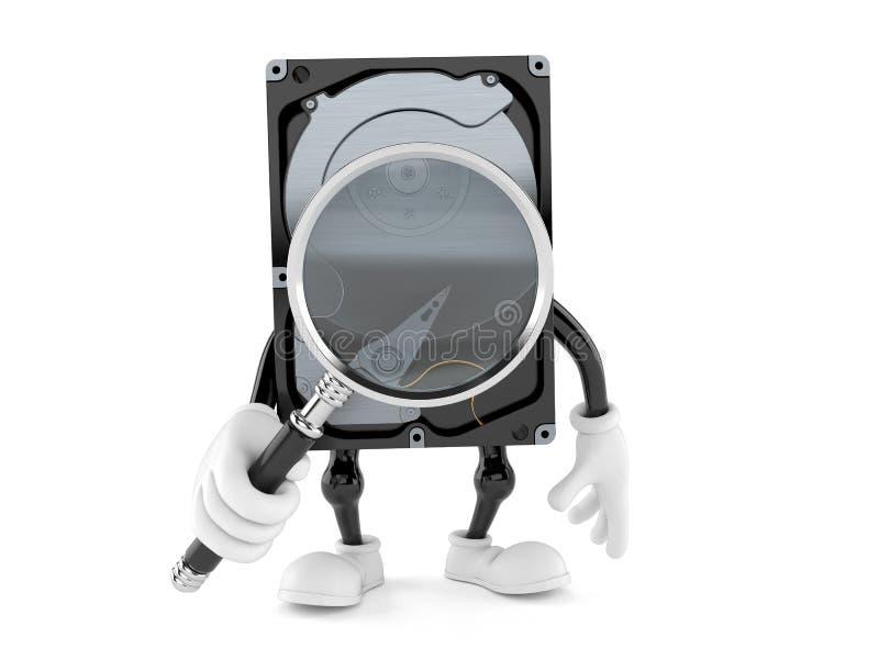 Carácter de la unidad de disco duro que mira a través de la lupa ilustración del vector