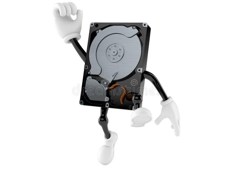 Carácter de la unidad de disco duro que salta en alegría ilustración del vector