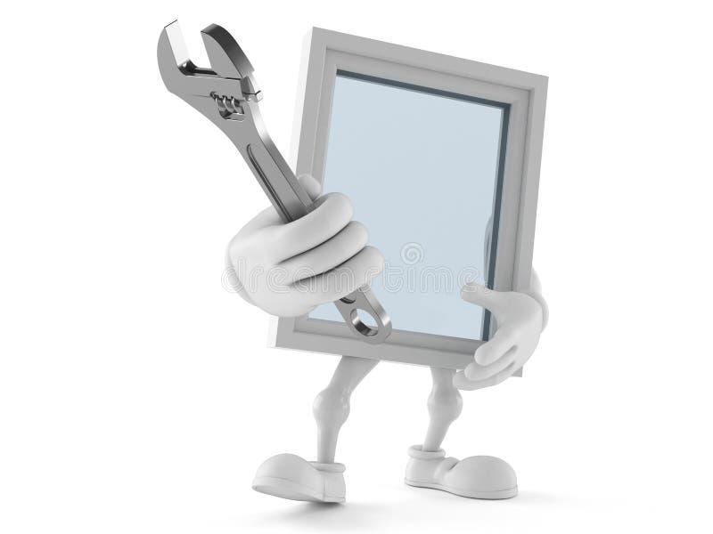 Carácter de la ventana que sostiene la llave ajustable ilustración del vector