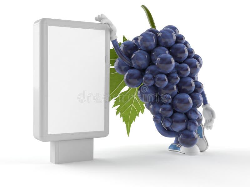 Carácter de las uvas con la cartelera en blanco ilustración del vector