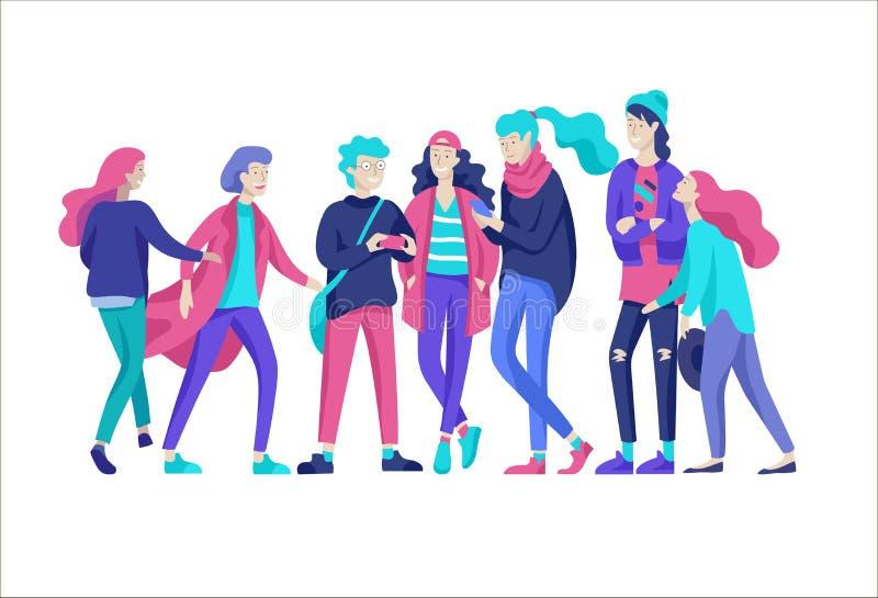 Carácter de los amigos de la gente del vector Grupo de adolescentes en clother de moda del invierno o del otoño ilustración del vector