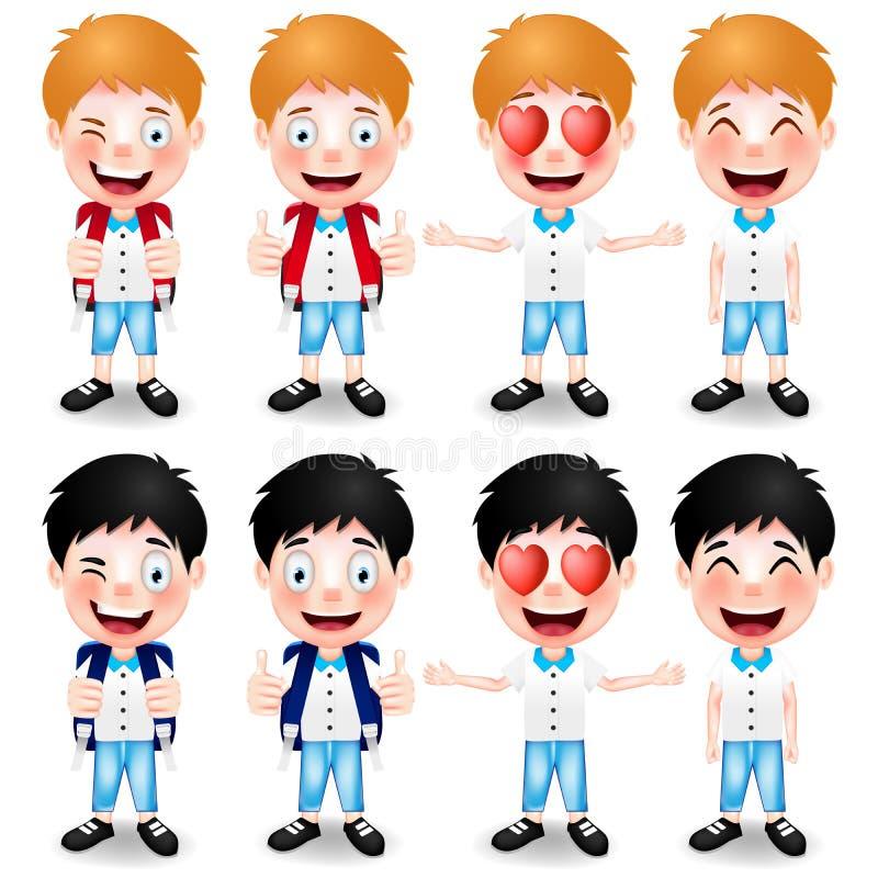 Carácter de los escolares con diversos gestos de mano y expresiones faciales stock de ilustración