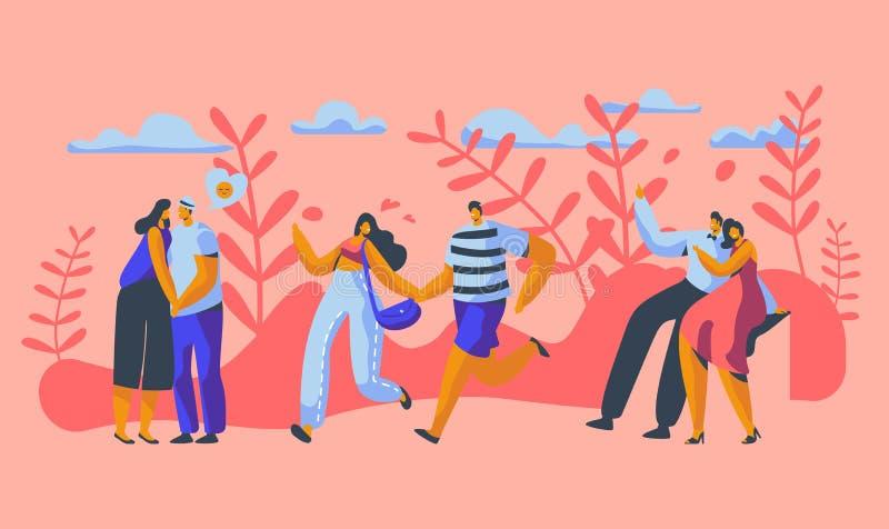 Carácter de los pares del amor que fecha en parque Forma de vida al aire libre de la relación feliz del amante Hombre de la mujer libre illustration