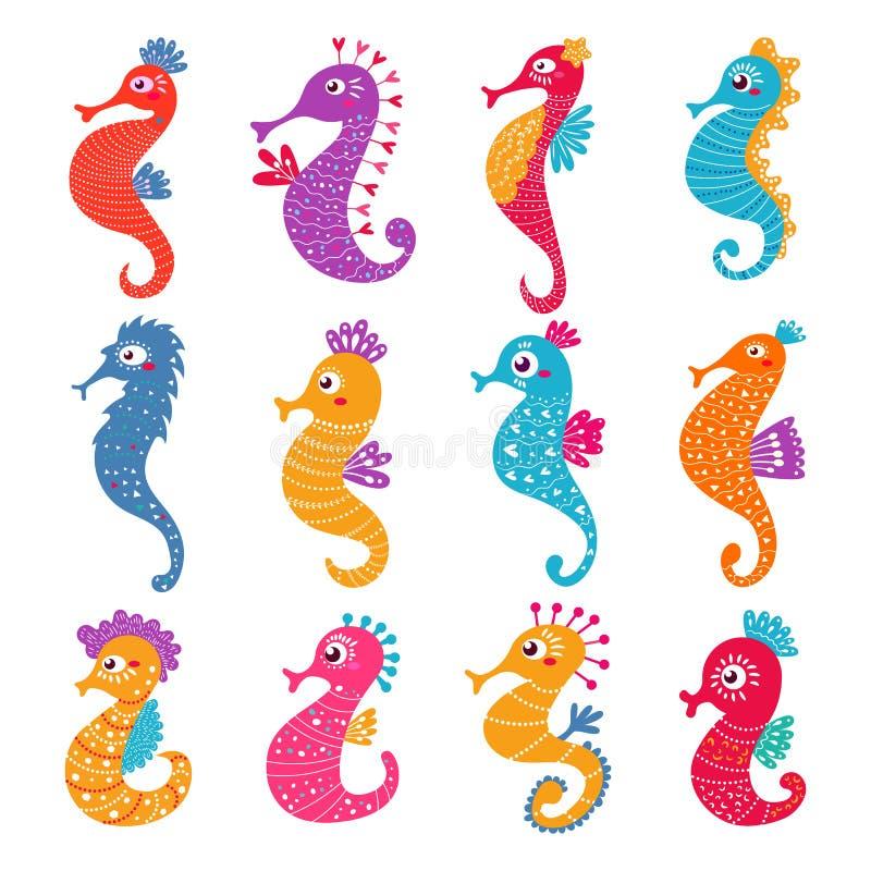 Carácter de los peces de mar del vector del Seahorse o mar-caballo de la historieta bajo la superficie del mar en sistema tropica stock de ilustración