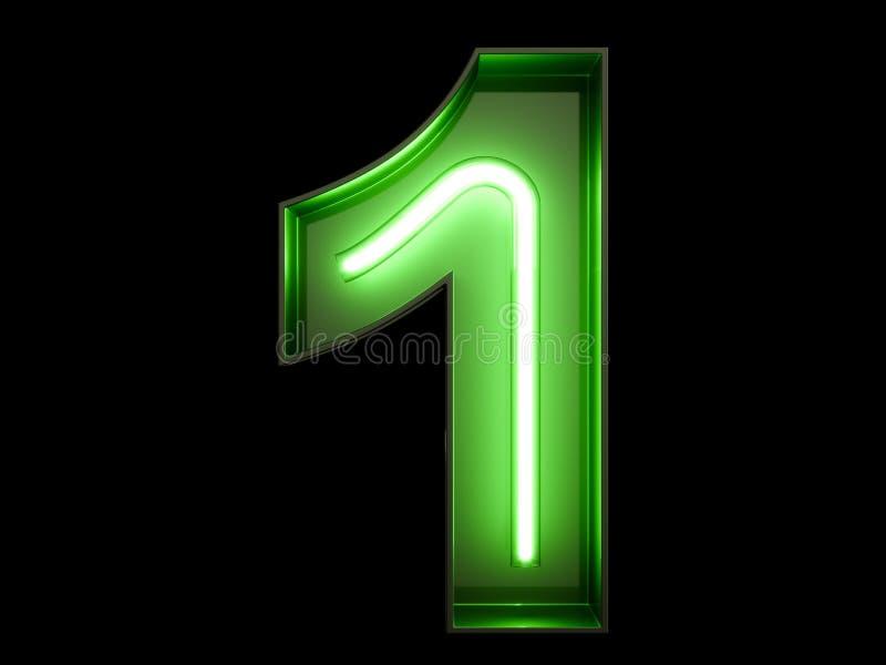 Carácter de neón 1 del alfabeto del dígito de la luz verde una fuente stock de ilustración