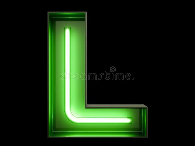 Carácter de neón L fuente del alfabeto de la luz verde libre illustration