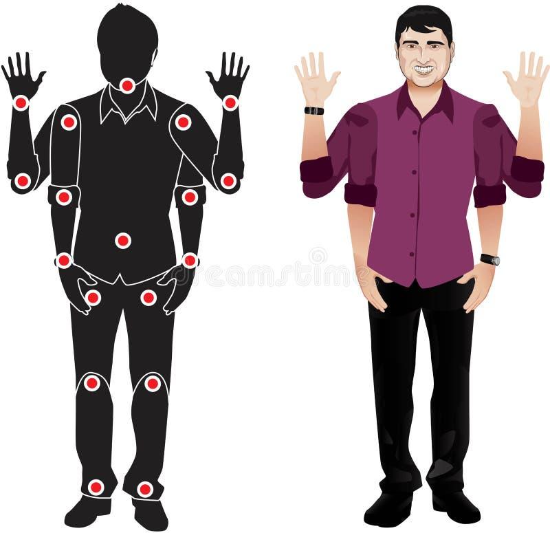 Carácter de Realystic en la camisa, muñeca lista del vector de la animación con las juntas separadas Gestos y juntas ilustración del vector