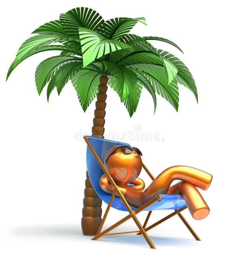 Carácter de refrigeración de relajación de la palmera de la silla de cubierta de la playa del hombre ilustración del vector